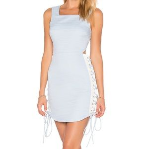REVOLVE Blue side lace up cocktail dress